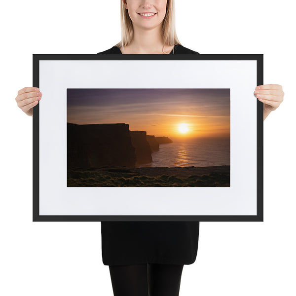 Cliff Sunset II - Matte Paper Framed Poster With Mat