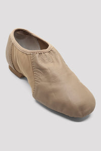 Bloch S0495L, Ladies Tan Neo-Flex Slip On Leather Jazz Shoe, Adult Size