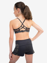 "Load image into Gallery viewer, Capezio Damask Cross Back Strap Bra Top (""Crop Top""), 11461T Tween Size"