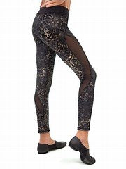 Capezio Leggings - 11464W Damask Mesh Insert Leggings - Adult Size