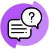 contact us icon with thought bubble and question mark