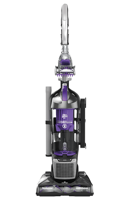 A purple, silver and black upright pet vacuum for use on hard woods, carpets, tile and area rugs