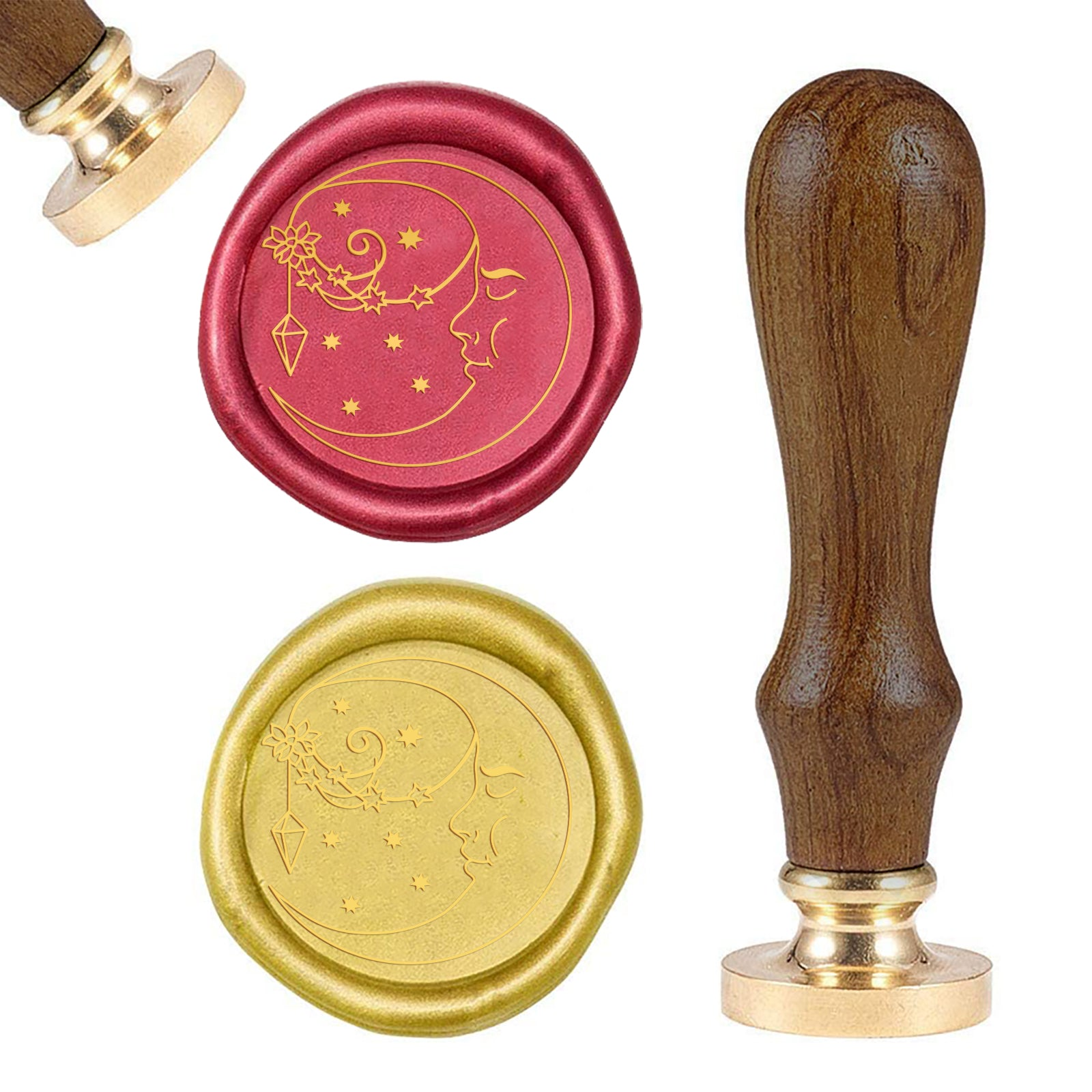 Moon Wood Handle Wax Seal Stamp