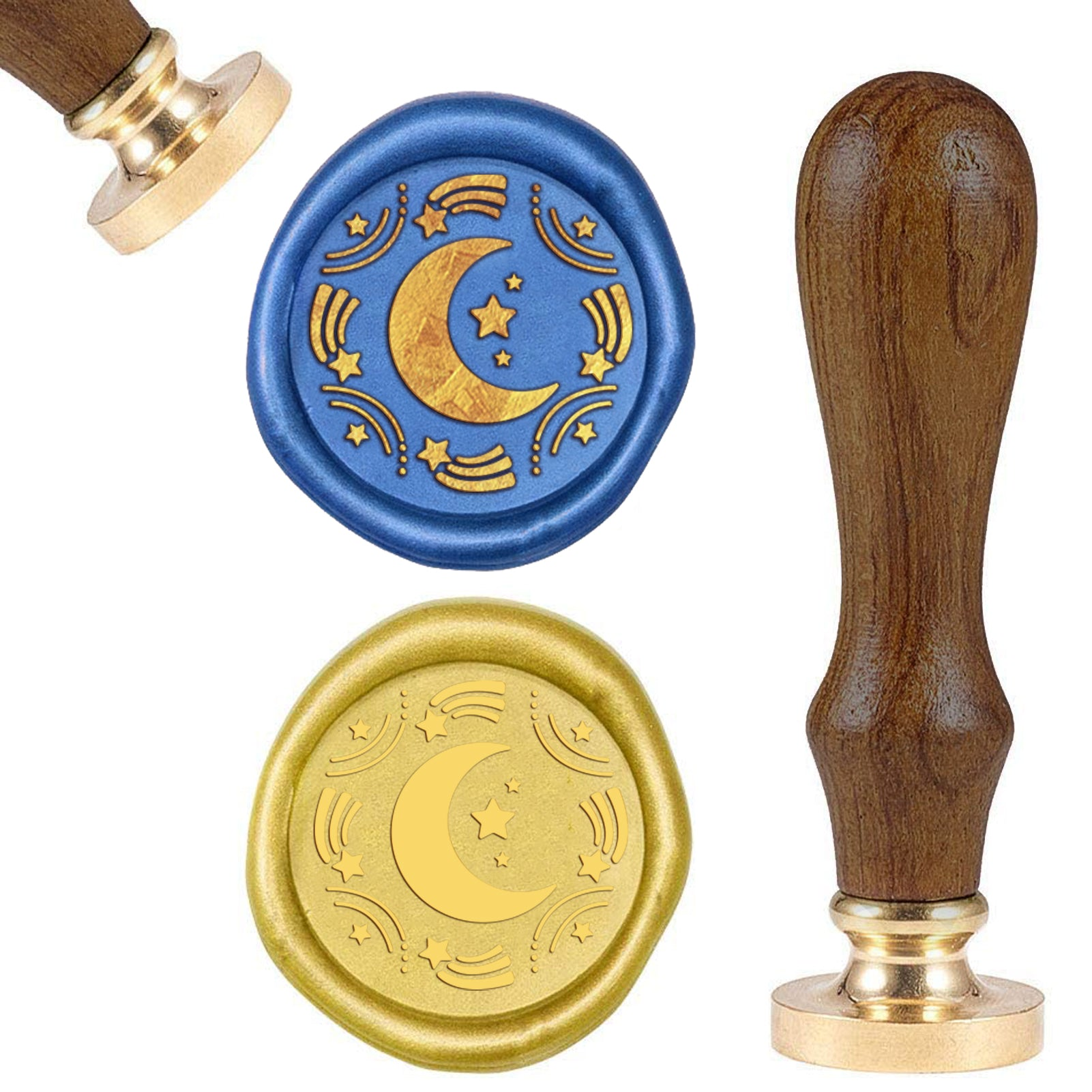 Moon and Stars Wood Handle Wax Seal Stamp