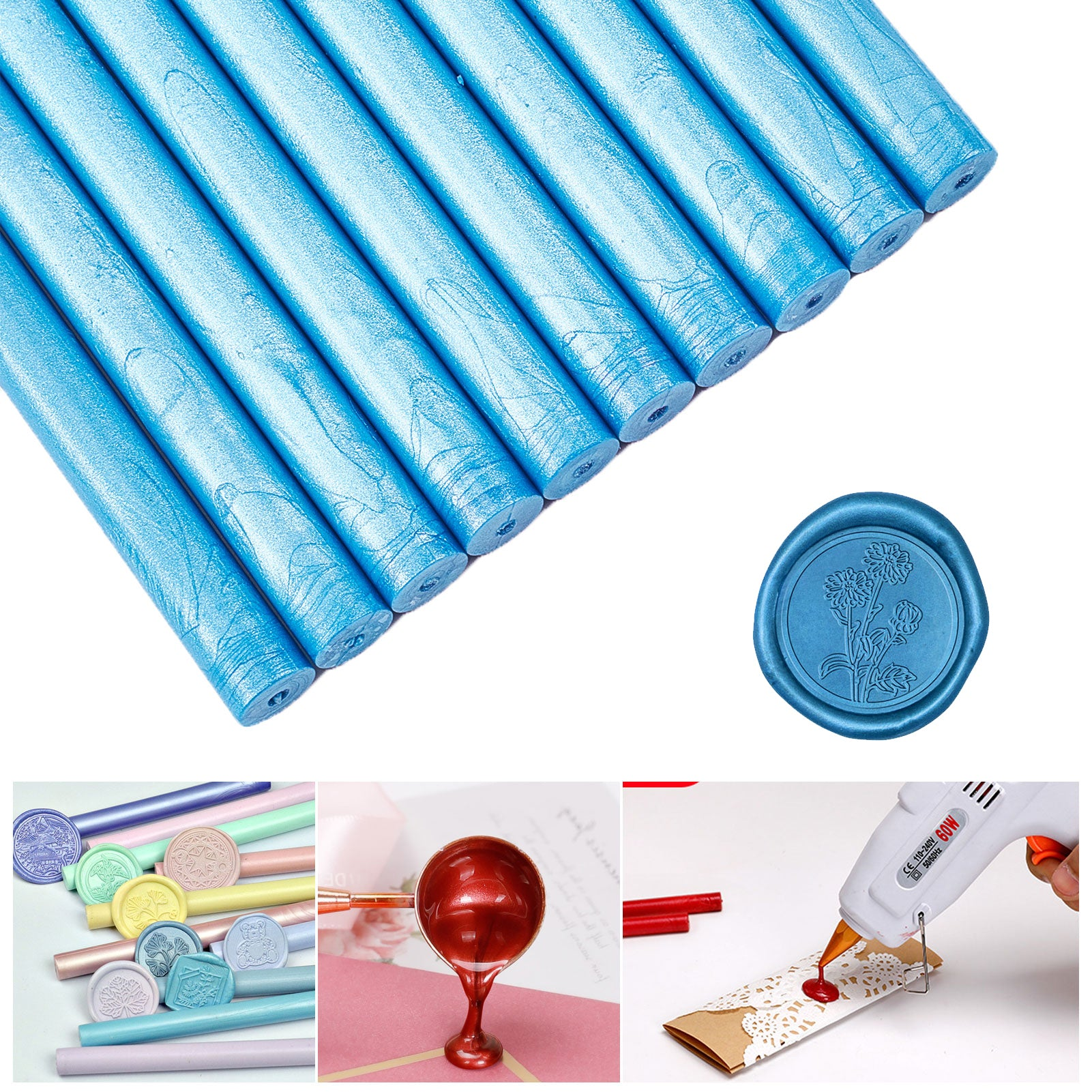20 Pieces Glue Gun Sealing Wax Sticks 11mm(Blue)