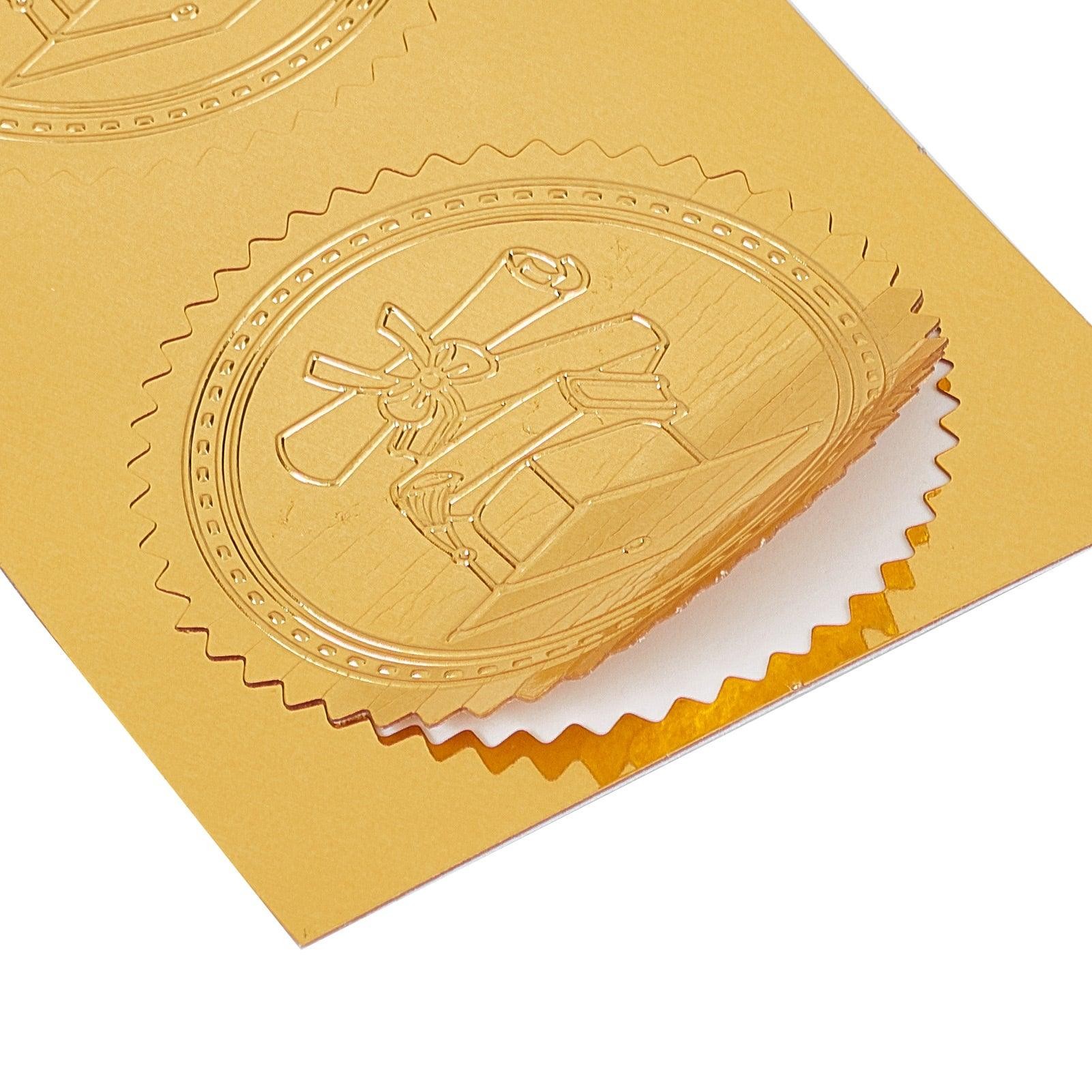 100pcs Embossed Gold Foil Certificate Seals Self Adhesive Stickers-10