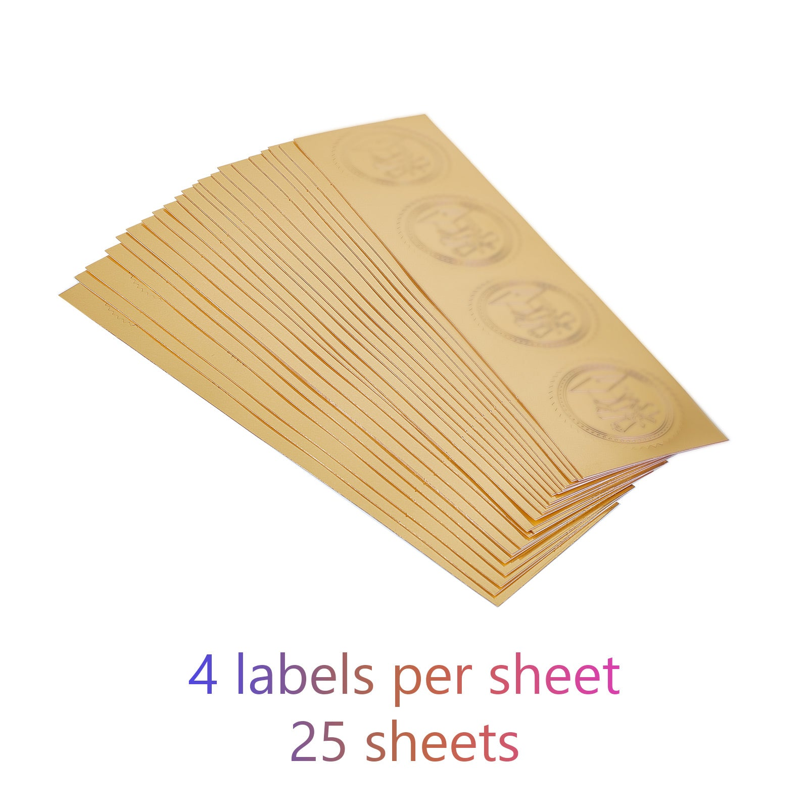 100pcs Embossed Gold Foil Certificate Seals Self Adhesive Stickers-16