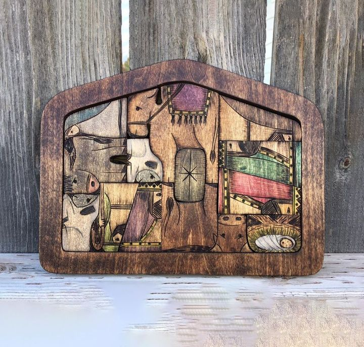 BUY2(SAVE$9.99&FREEE SHIPPING)-Nativity Puzzle with Wood Burned Design