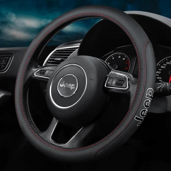 brown of {Buy 2 Free Shipping}--Car Logo Handmade Leather Steering Wheel Cover