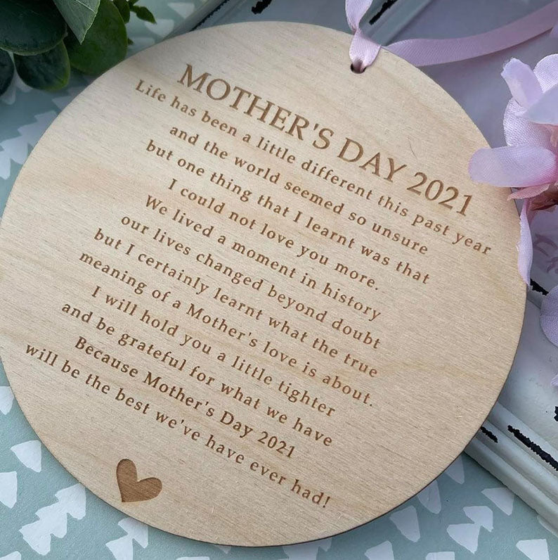 Mother's Day 2021 Lockdown Keepsake PLY Decoration - Gifts For Mother's Day - Present For Mum - Mother's Day Gifts - Gifts For Mum - Decor