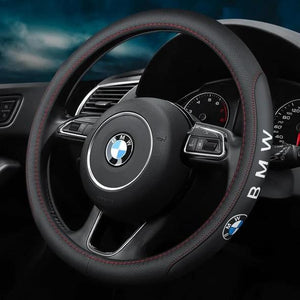 {Buy 2 Free Shipping}--Car Logo Handmade Leather Steering Wheel Cover