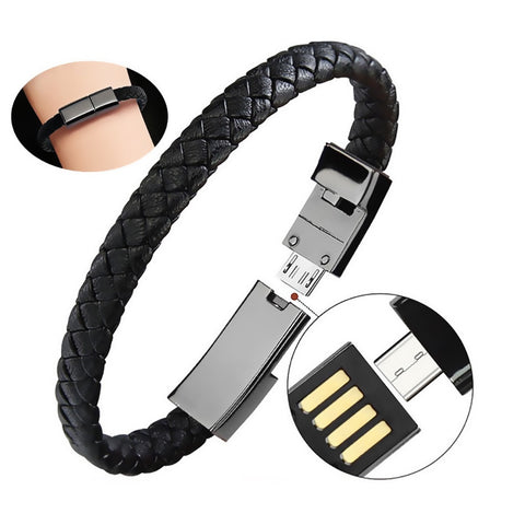 Leather Bracelet USB Quick Charger Portable Mini Micro USB Charger Data Charging Cable For iPhone 7 8 Android Type-C Phone Cable