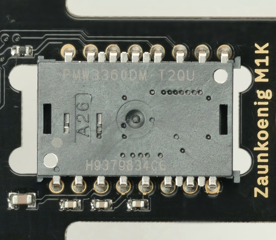 This picture shows two types of capacitors (1608 as well as 1005) that are on the Zaunkoenig M1K PCB.