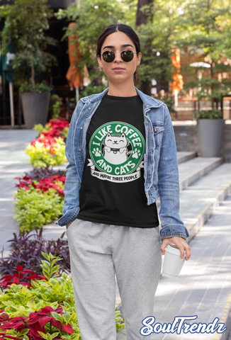 I Like Coffee and Cats and Maybe Three People Shirt