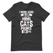 Load image into Gallery viewer, Work Hard Come Home Cats Pounce Funny T-Shirt - SoulTrendz