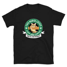 Load image into Gallery viewer, This Nurse Loves Cats and Coffee T-Shirt