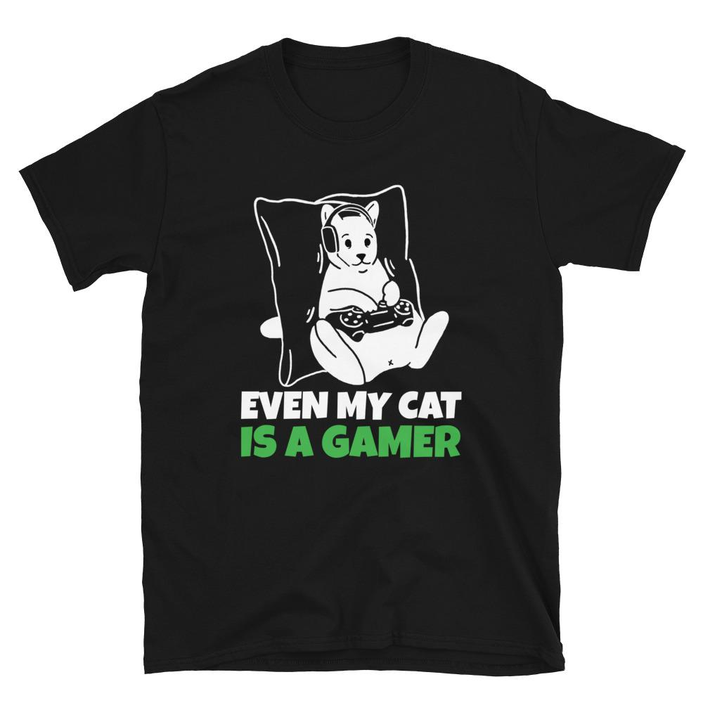 Even My Cat Is A Gamer T-Shirt - SoulTrendz