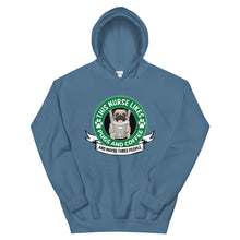 Load image into Gallery viewer, This Nurse Likes Pugs and Coffee and Maybe Three People Hoodie