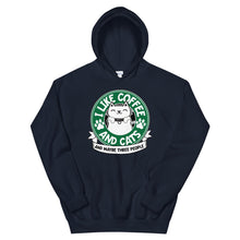 Load image into Gallery viewer, I Like Coffee and Cats and Maybe Three People Hoodie
