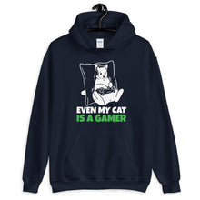 Load image into Gallery viewer, Even My Cat Is A Gamer Unisex Hoodie