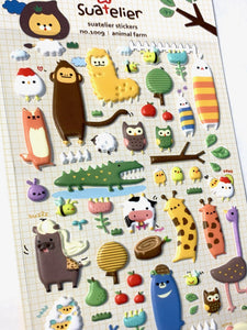 010091 Animal Farm Puffy Sticker-1 sheet