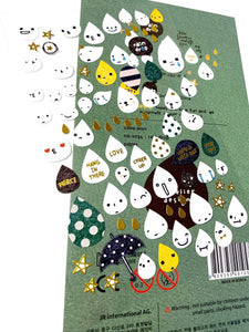 010341 RAIN DROP Paper Sticker-1 sheet