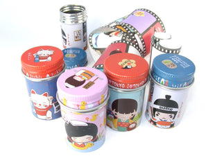11041 KOKESHI DOLL SMALL ROUND TIN BOX-40