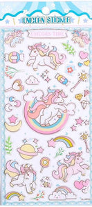 101181 UNICORN GEL STICKERS-4 assorted sheets