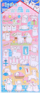 101201 ALPACA PUFFY STICKERS-4 assorted sheets