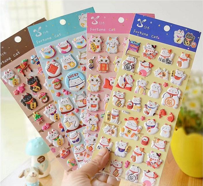 101211 MANEKI LUCKY CAT PUFFY STICKERS-4 assorted sheets