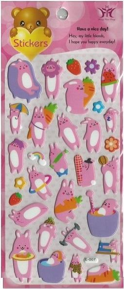 110921 PINK RABBITS BIG PUFFY STICKERS-1 sheet