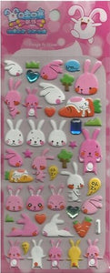 102471 RABBIT CRYSTAL PUFFY STICKERS-1 sheet