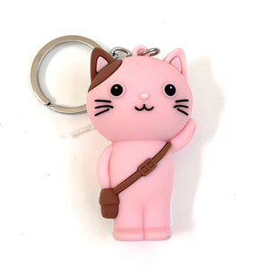 120264 SCHOOL CAT CHARM with keyring-Pink-1 piece
