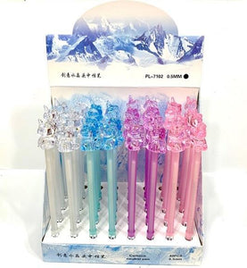 222812 CRYSTAL UNICORN GEL PEN-3 assorted pens