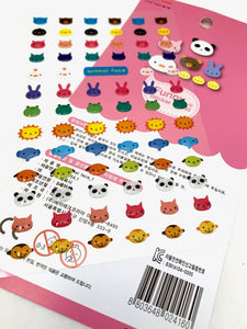 241771 LITTLE ANIMAL FACES GEL STICKERS-1 sheet