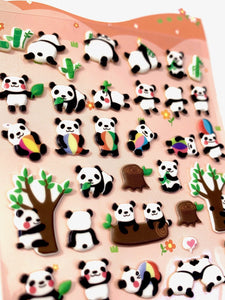 313281 PANDA SOFT PUFFY STICKERS-1 sheet