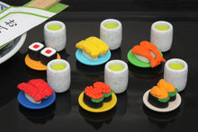 Load image into Gallery viewer, 382624 IWAKO TAMAGO EGG SUSHI PLATE WITH TEA ERASERS-1 SET