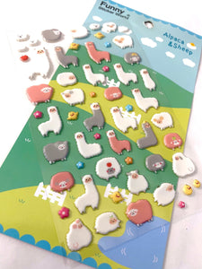 371431 ALPACA & SHEEP PUFFY STICKER-1 sheet