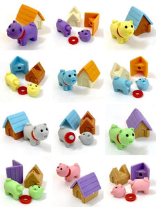380298 IWAKO DOG HOUSE ERASERS-PINK DOG-1 packs of 2 erasers