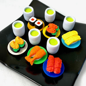 382624 IWAKO TAMAGO EGG SUSHI PLATE WITH TEA ERASERS-1 SET