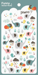 404811 PAWOO ELEPHANT GEL STICKERS-1 sheet