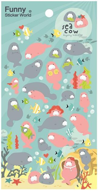 407881 MANATEE PUFFY STICKERS-1 sheet