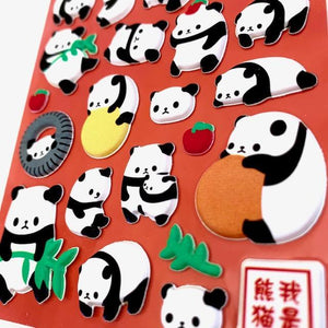 717501 PANDA PUFFY STICKERS-1 sheet