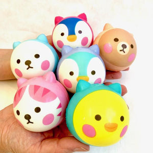 833241 SQUISHY ANIMAL BALL-slowr ise-2.5 inch-1 piece