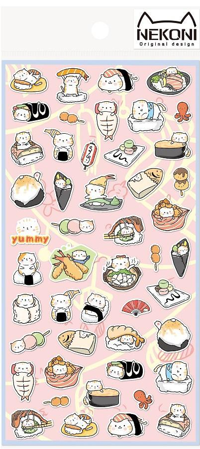 850341 SUSHI CAT FLAT STICKERS-1 sheet