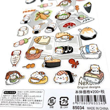 Load image into Gallery viewer, 850341 SUSHI CAT FLAT STICKERS-1 sheet