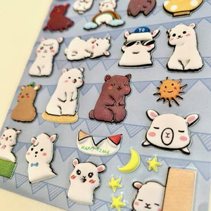 853371 LLAMA PUFFY STICKER-1 sheet