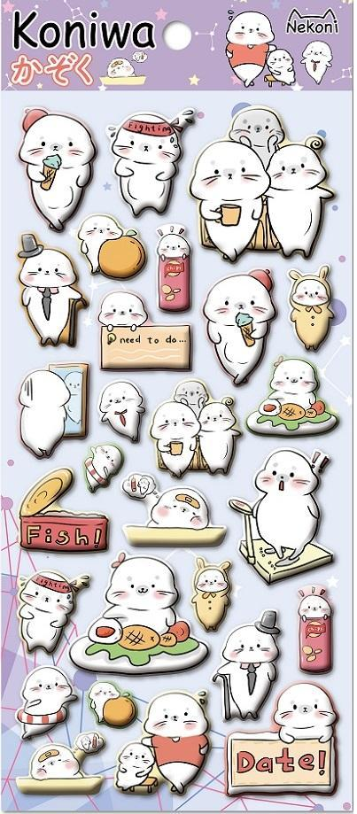 855391 SEAL PUFFY STICKERS-1 sheet