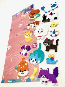 856891 DOG AND CAT PUFFY STICKER-1 sheet