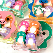 Load image into Gallery viewer, 388051 4 LITTLE PENGUIN ERASERS IN PENGUIN CASE-1 case of 4 erasers